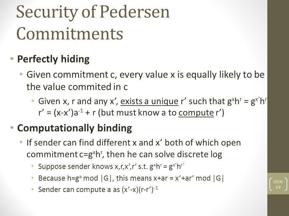 Security of Pedersen Commitments