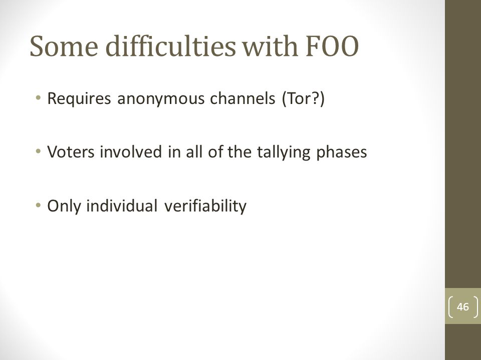 Some difficulties with FOO