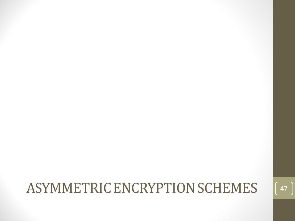 Asymmetric Encryption schemes