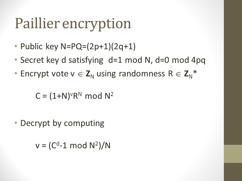 Paillier encryption Public key N=PQ=(2p+1)(2q+1)