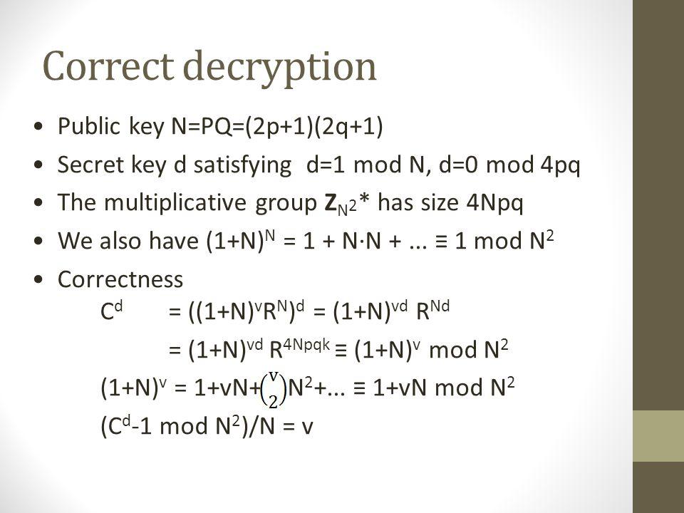 Correct decryption Public key N=PQ=(2p+1)(2q+1)