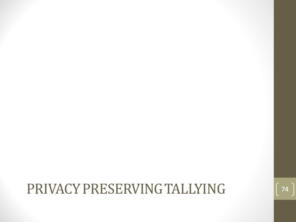 PRIVACY Preserving Tallying