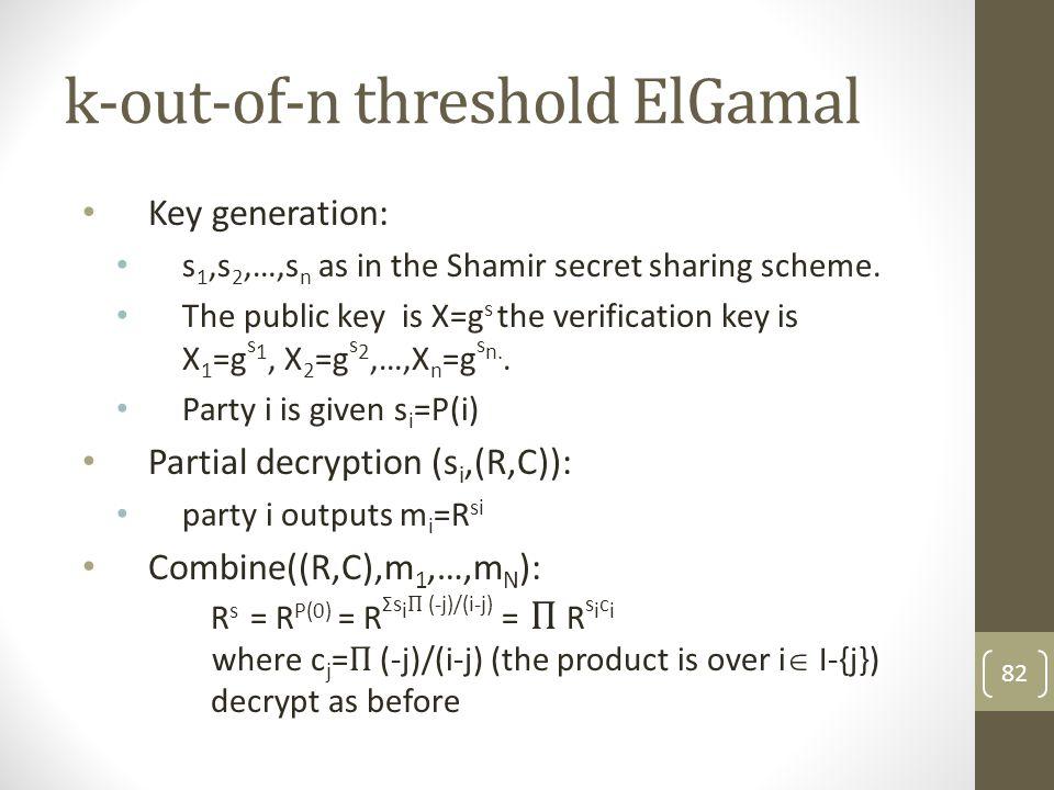 k-out-of-n threshold ElGamal