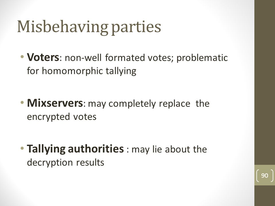 Misbehaving parties Voters: non-well formated votes; problematic for homomorphic tallying. Mixservers: may completely replace the encrypted votes.