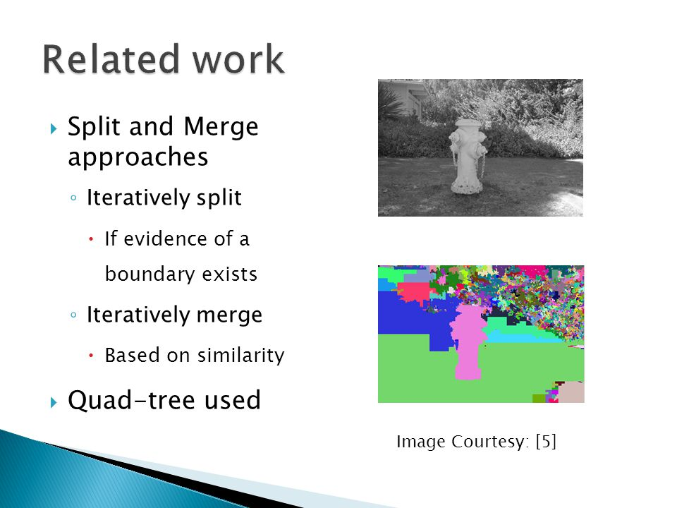 Related work Split and Merge approaches Quad-tree used