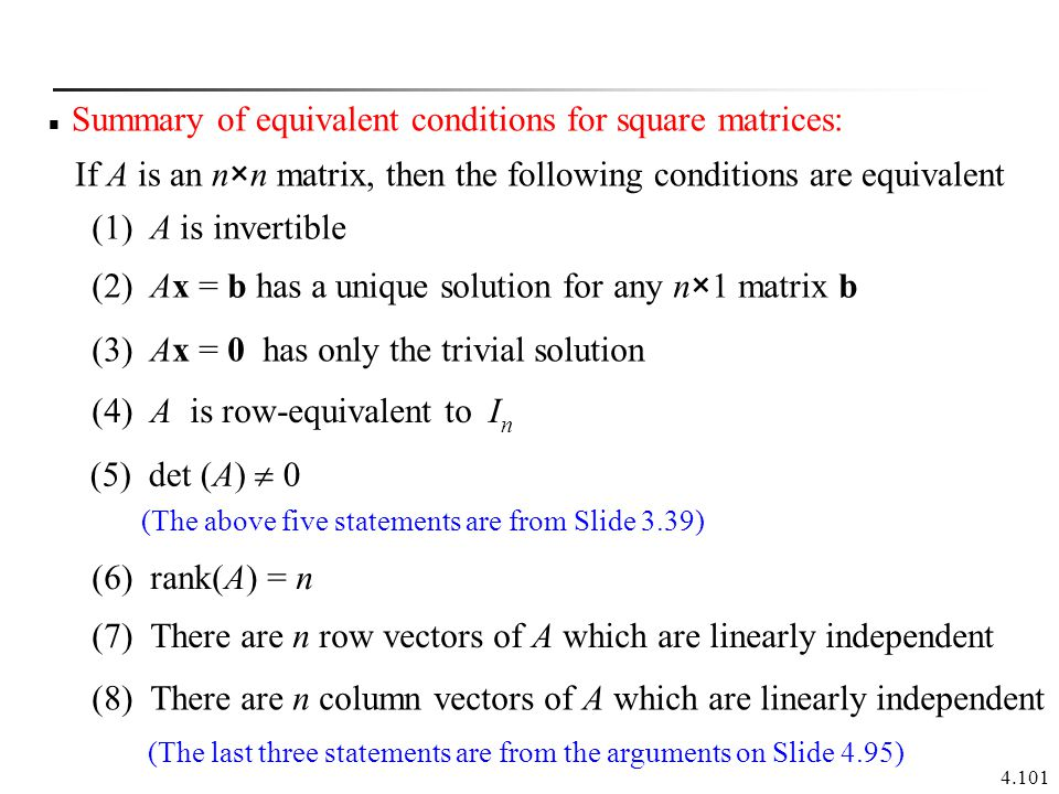 Summary of equivalent conditions for square matrices: