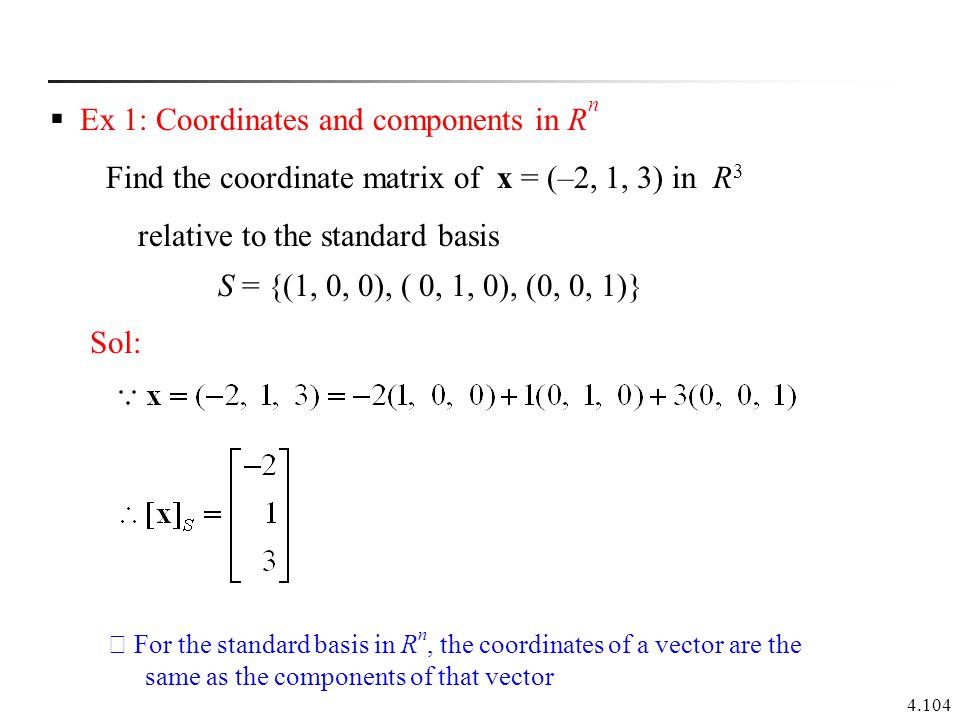 Ex 1: Coordinates and components in Rn