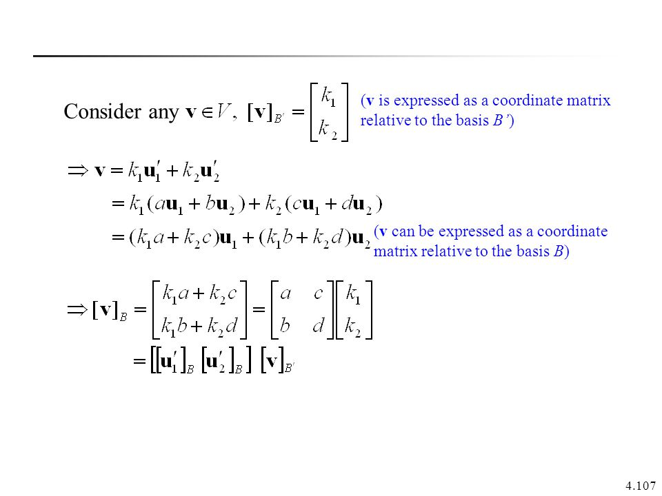 (v is expressed as a coordinate matrix relative to the basis B')