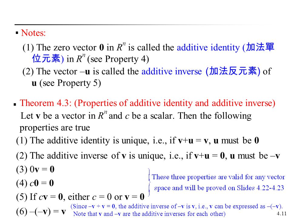 Theorem 4.3: (Properties of additive identity and additive inverse)