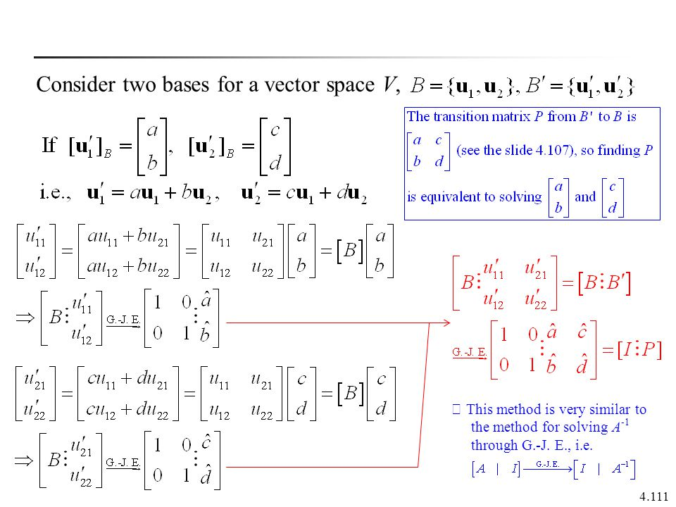 Consider two bases for a vector space V,