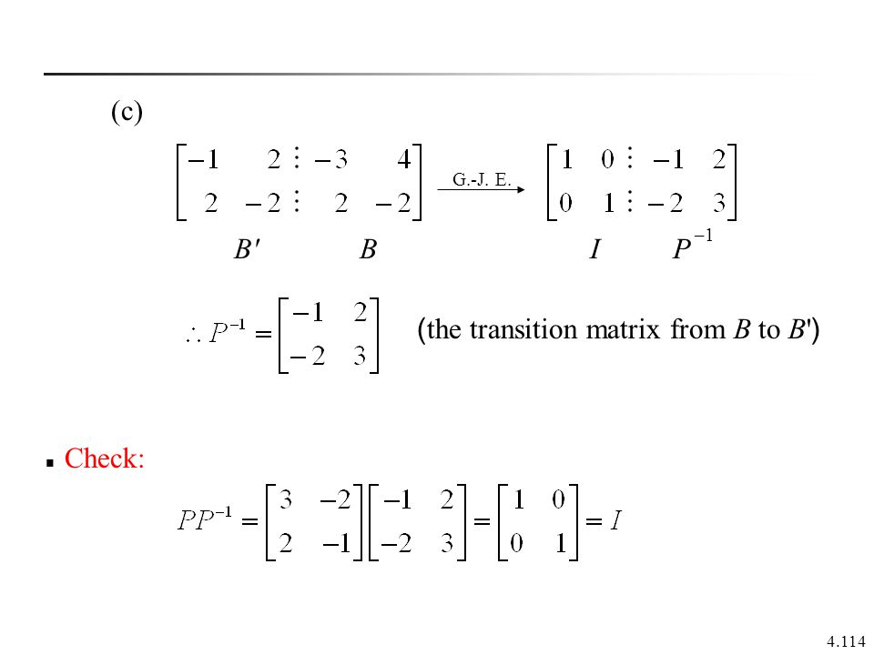 (the transition matrix from B to B )