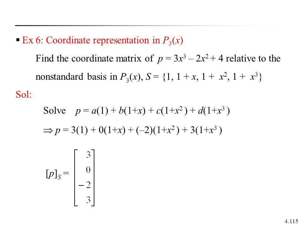 Ex 6: Coordinate representation in P3(x)