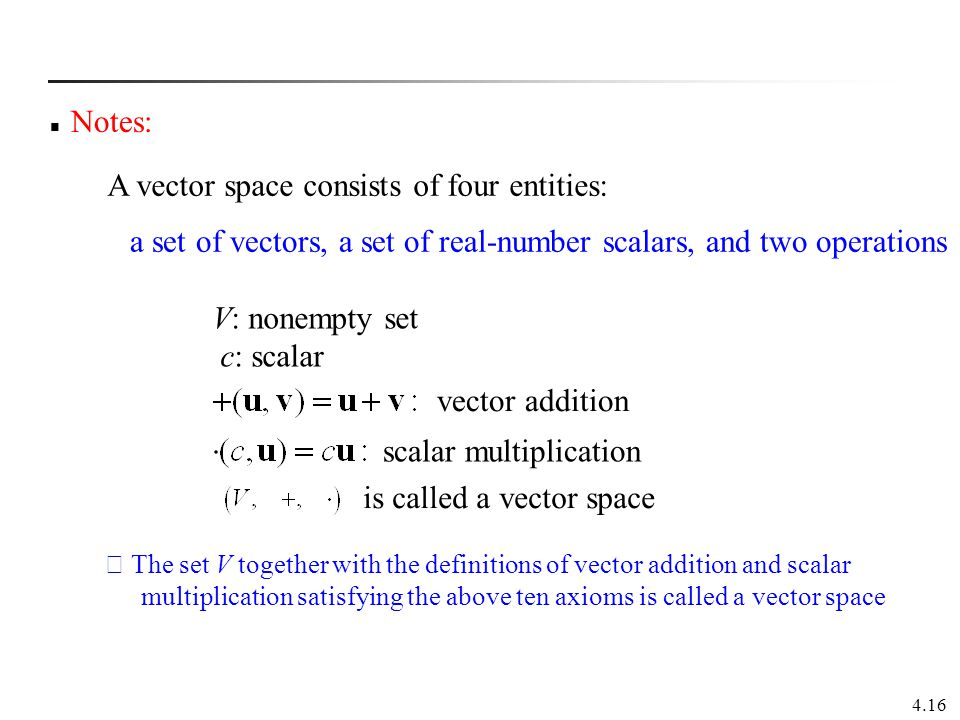 A vector space consists of four entities: