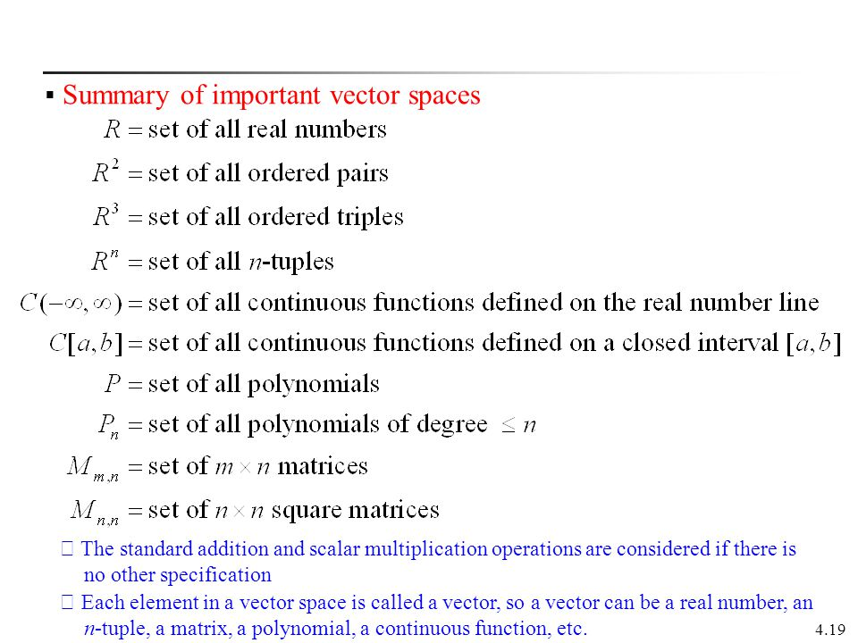 Summary of important vector spaces