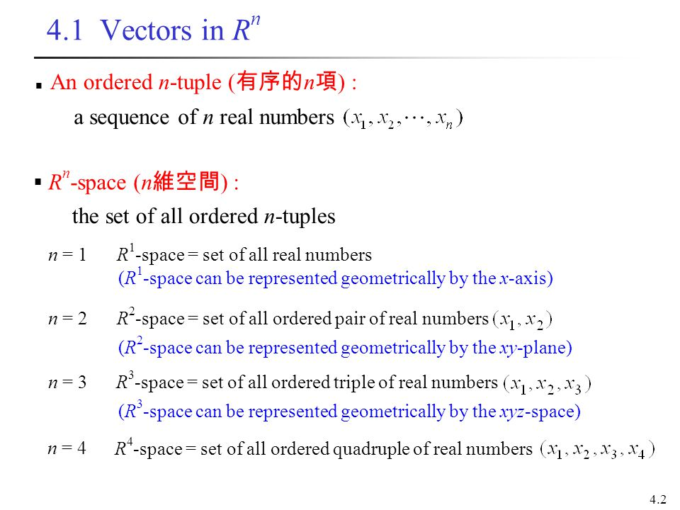 4.1 Vectors in Rn An ordered n-tuple (有序的n項) :