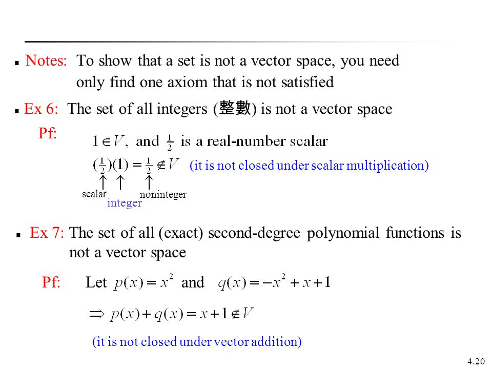 Notes: To show that a set is not a vector space, you need