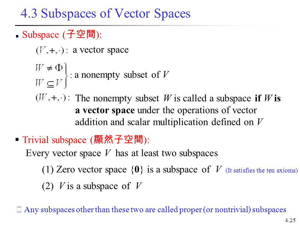4.3 Subspaces of Vector Spaces