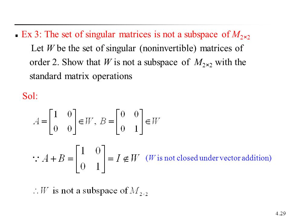 Ex 3: The set of singular matrices is not a subspace of M2×2
