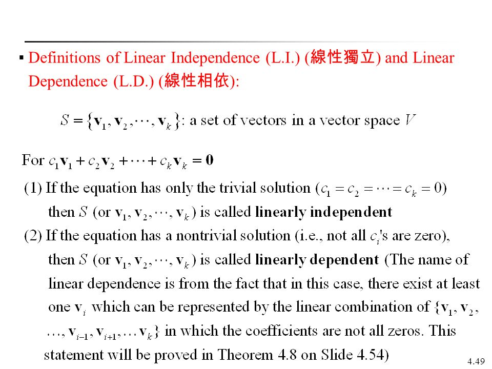 Definitions of Linear Independence (L. I