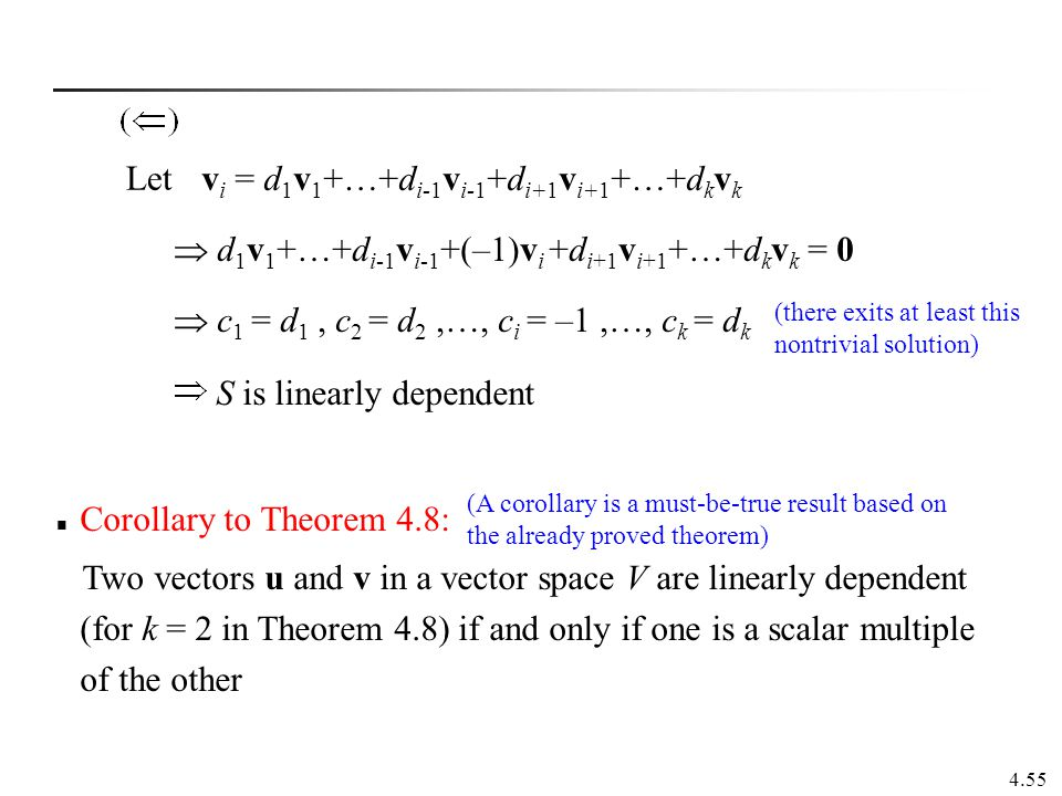 vi = d1v1+…+di-1vi-1+di+1vi+1+…+dkvk