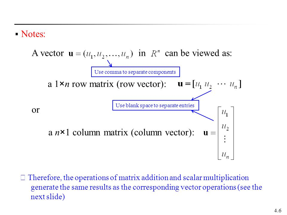 A vector in can be viewed as: