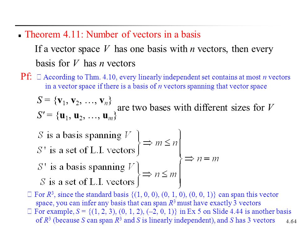 Theorem 4.11: Number of vectors in a basis