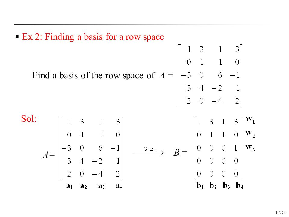 Find a basis of the row space of A =