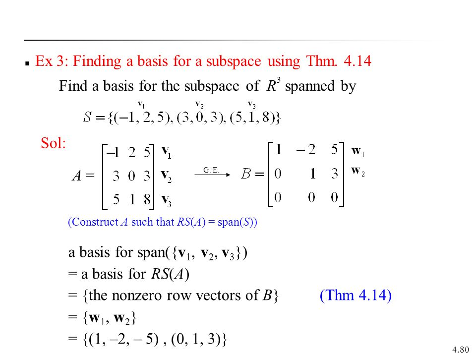 Ex 3: Finding a basis for a subspace using Thm. 4.14