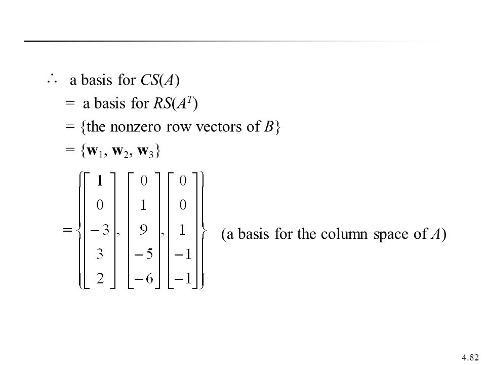 a basis for CS(A) = a basis for RS(AT) = {the nonzero row vectors of B} = {w1, w2, w3} (a basis for the column space of A)
