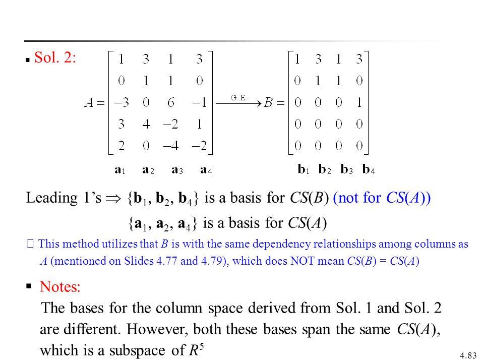 Leading 1's  {b1, b2, b4} is a basis for CS(B) (not for CS(A))