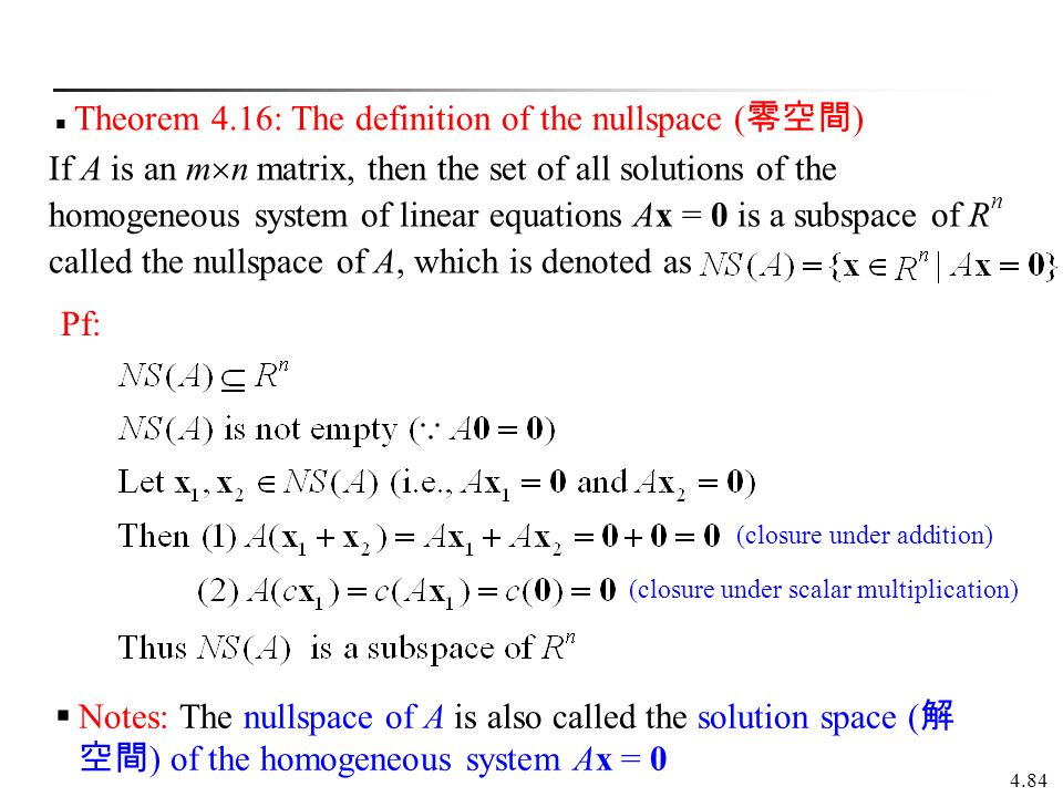 Theorem 4.16: The definition of the nullspace (零空間)