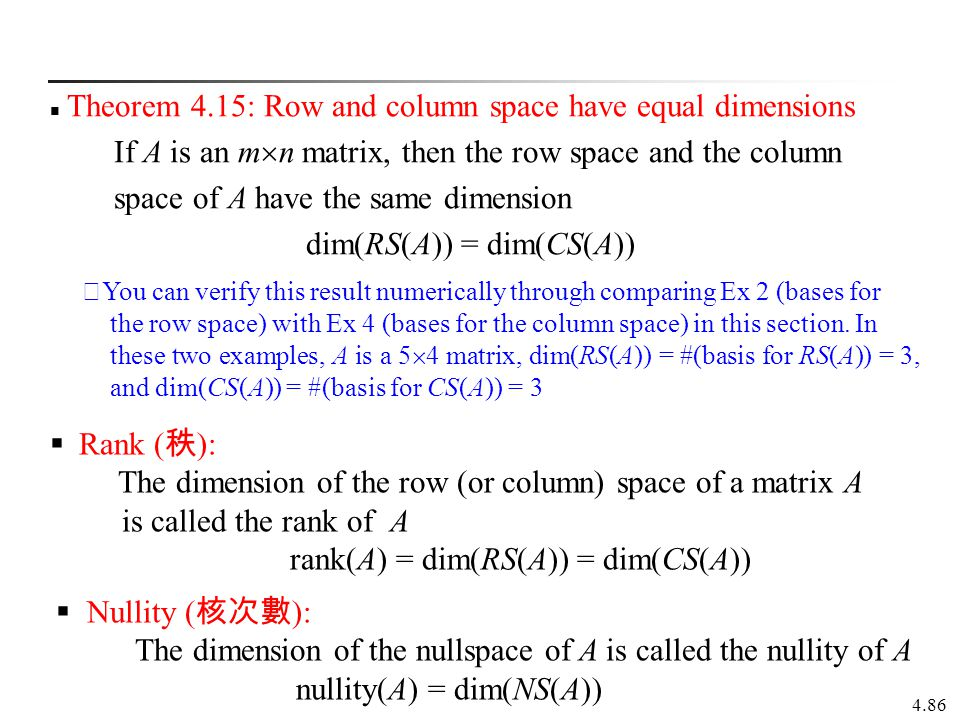 Theorem 4.15: Row and column space have equal dimensions