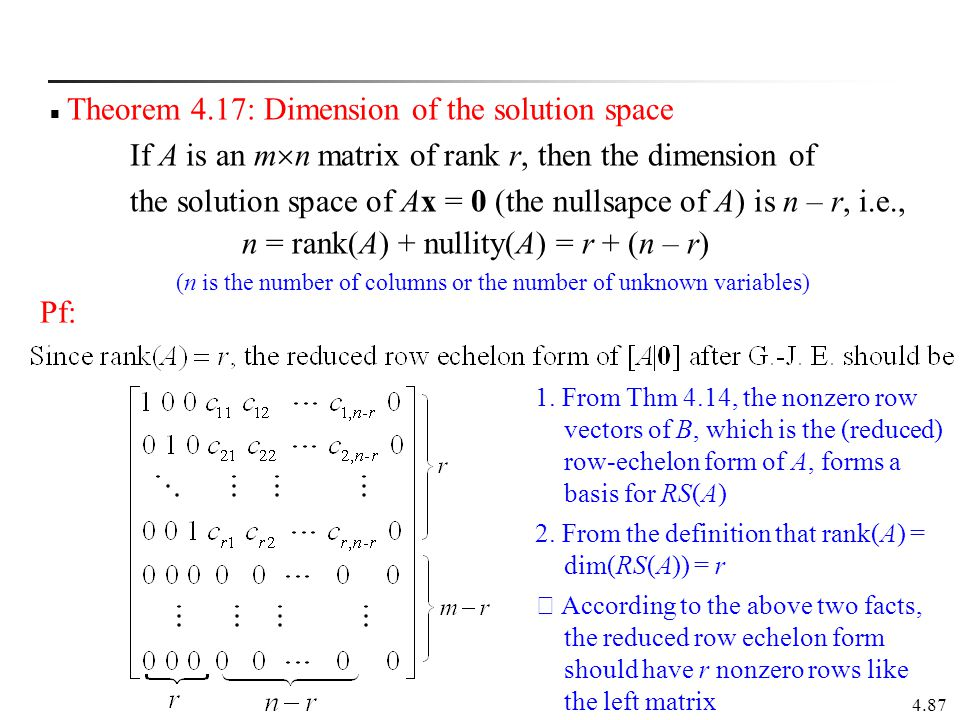 Theorem 4.17: Dimension of the solution space