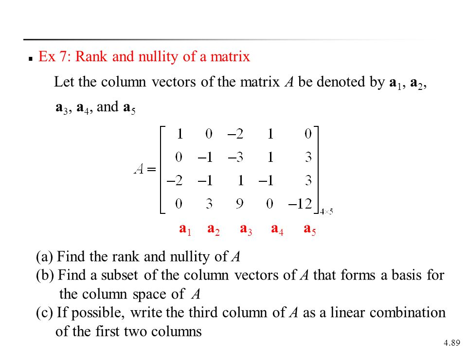 Ex 7: Rank and nullity of a matrix