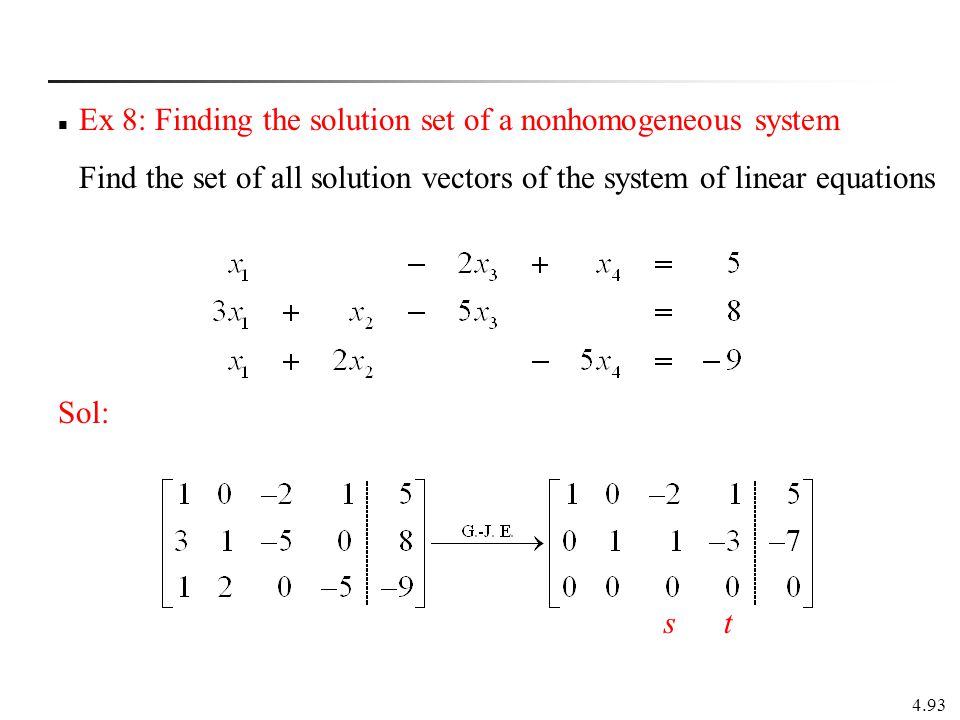 Ex 8: Finding the solution set of a nonhomogeneous system