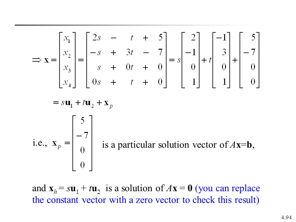 i.e., is a particular solution vector of Ax=b,