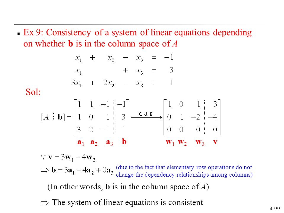 Ex 9: Consistency of a system of linear equations depending on whether b is in the column space of A