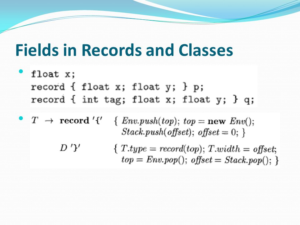 Fields in Records and Classes