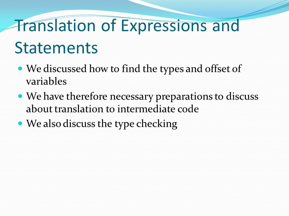Translation of Expressions and Statements