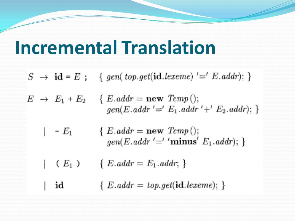 Incremental Translation