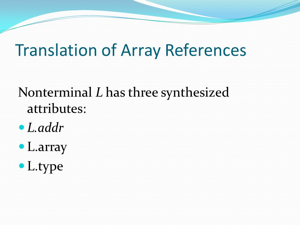 Translation of Array References