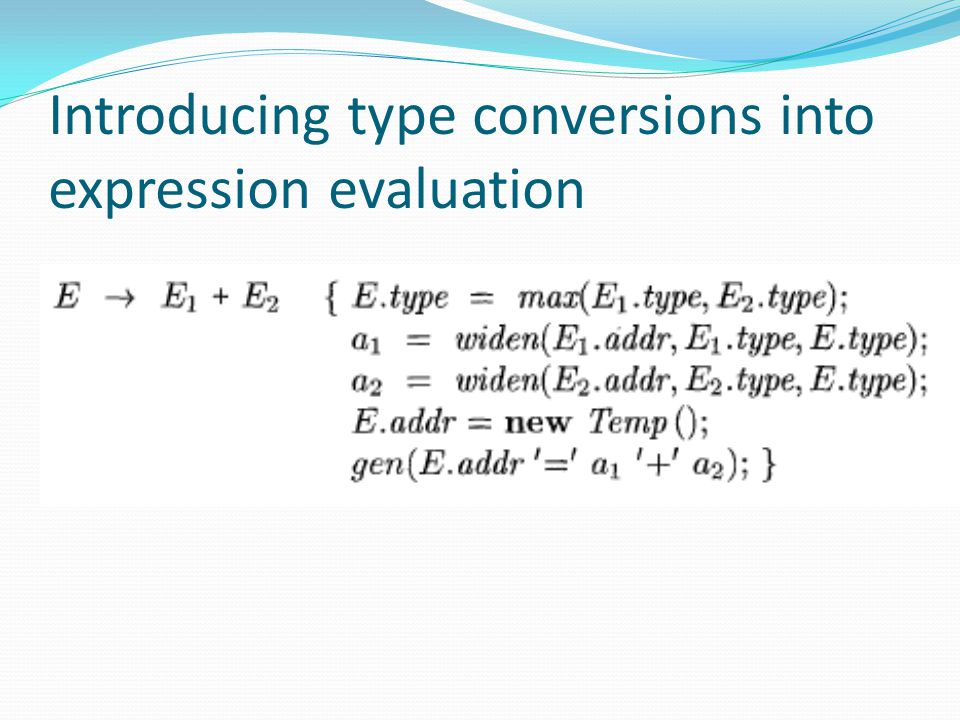 Introducing type conversions into expression evaluation