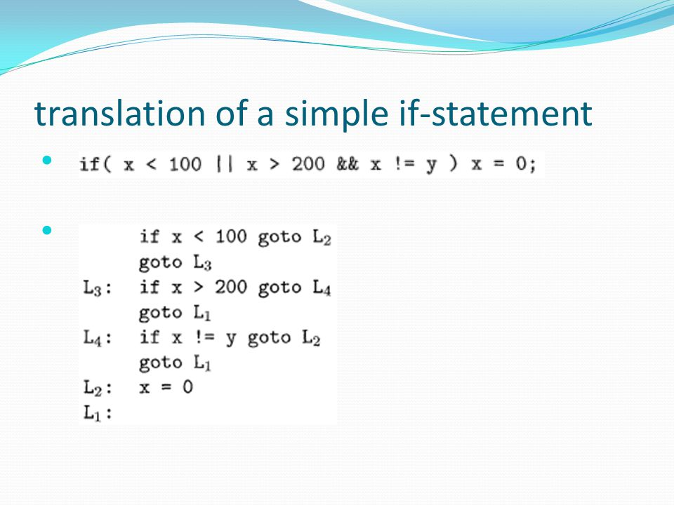 translation of a simple if-statement