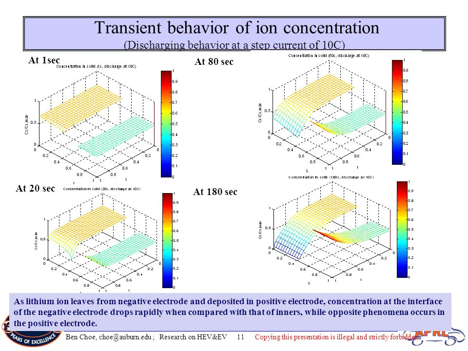 Transient behavior of ion concentration (Discharging behavior at a step current of 10C)