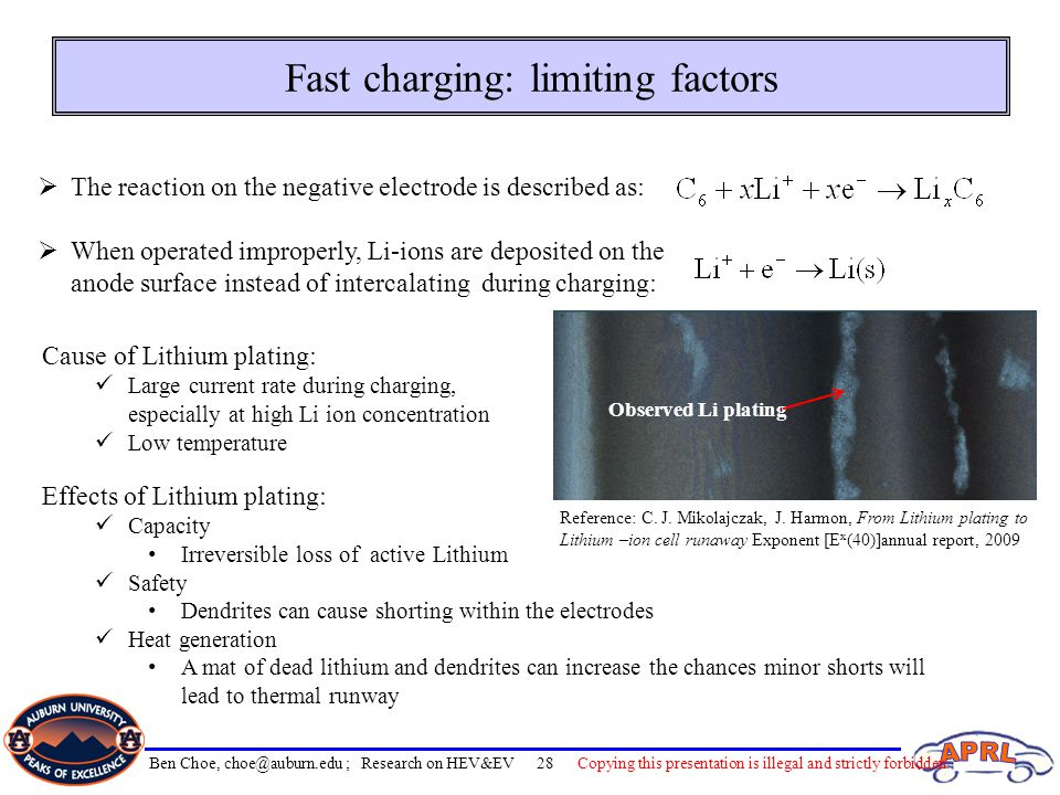 Fast charging: limiting factors