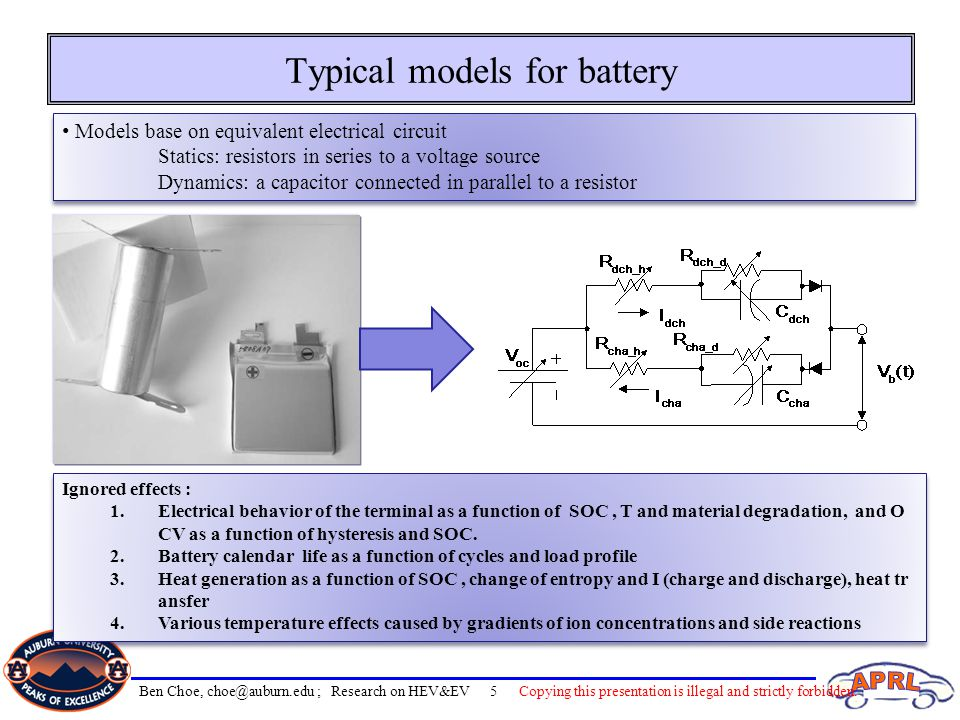 Typical models for battery