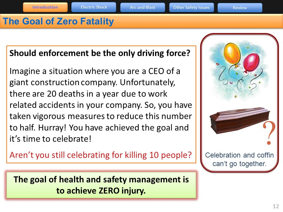 The goal of health and safety management is to achieve ZERO injury.