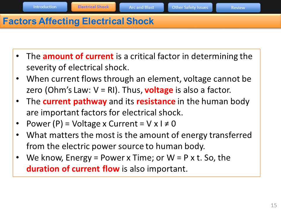 Factors Affecting Electrical Shock