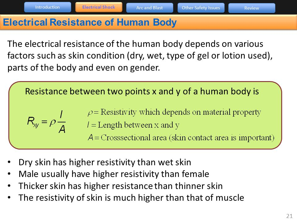 Electrical Resistance of Human Body