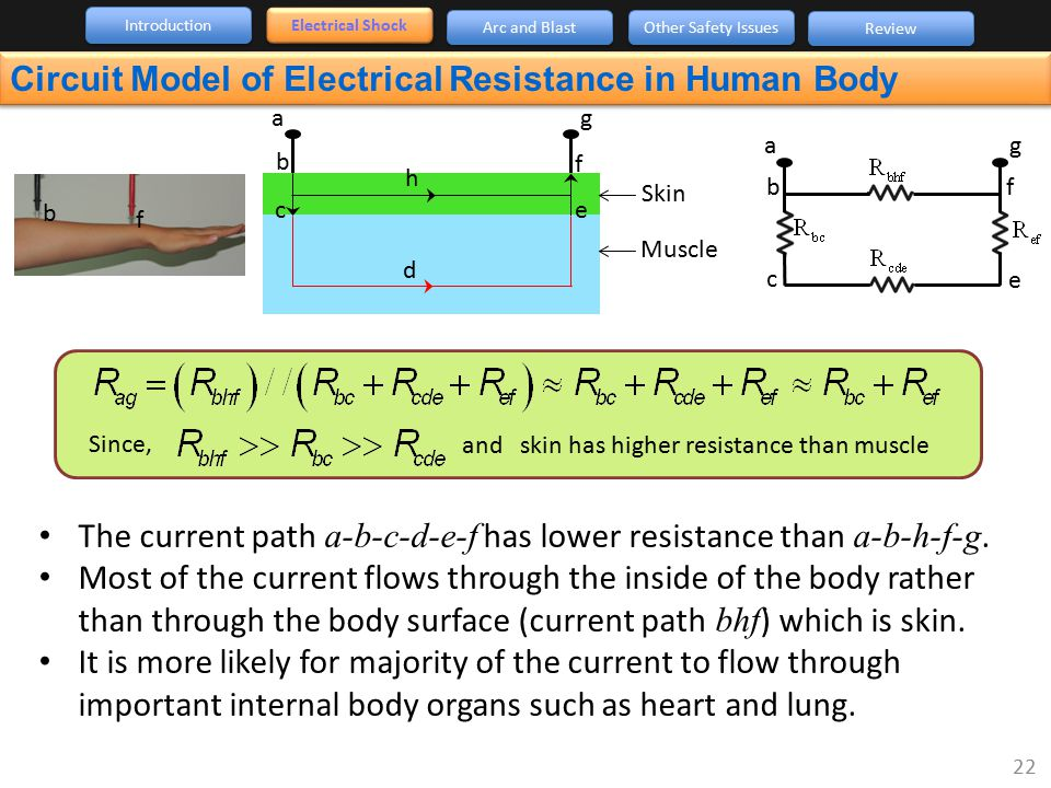 Circuit Model of Electrical Resistance in Human Body